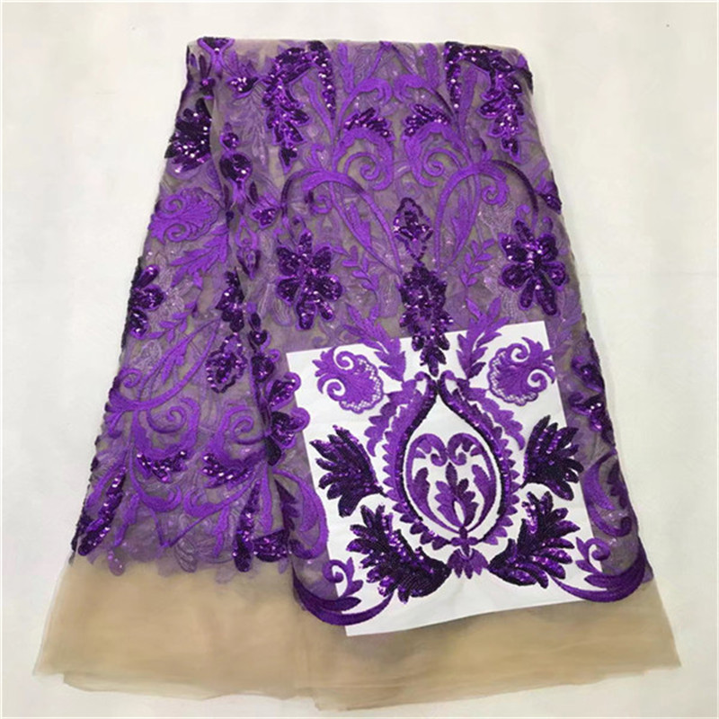 2017 New Design Guipure Embroidery Lace Fabric On Sale PURPLE Sequin Fabric Material A Loss African Clothes Purple Sequin Lace