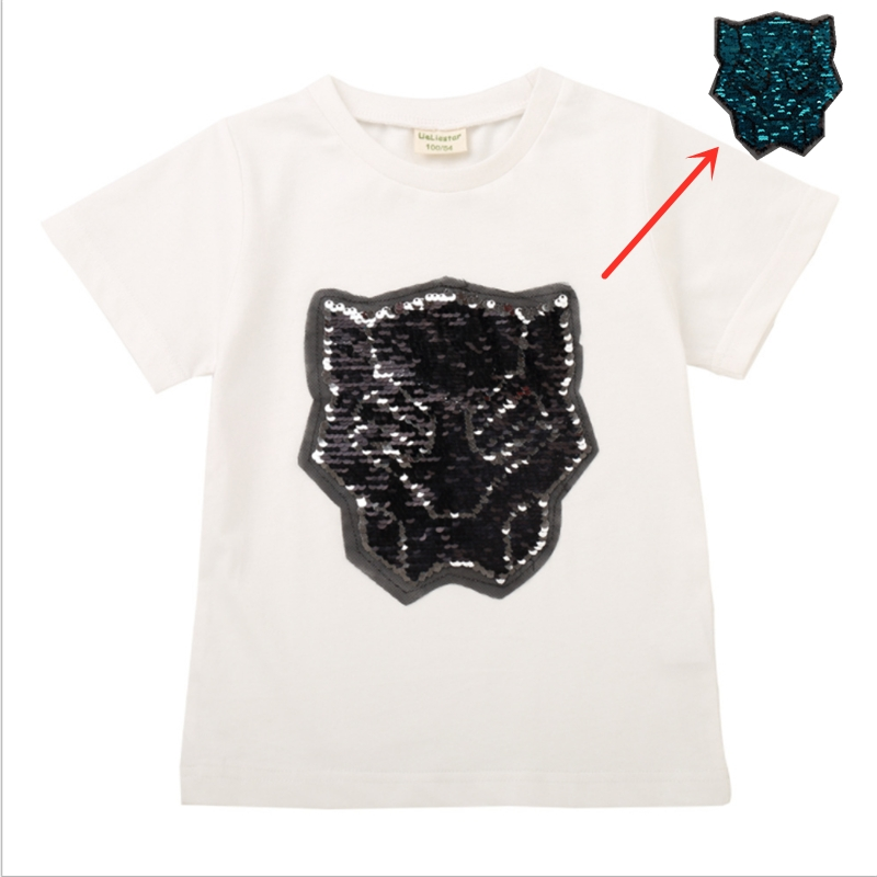 6a37f5b9 US $5.98 20% OFF new hot boys tops change face color magic discoloration T  shirts sequin superhero black panther cool t shirt for boy gifts 2 8Y-in ...