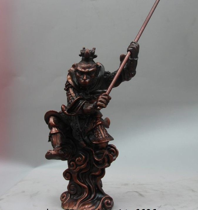 China Buddhism Red Copper Bronze Carved Sunwukong Monkey King God Buddha Statue