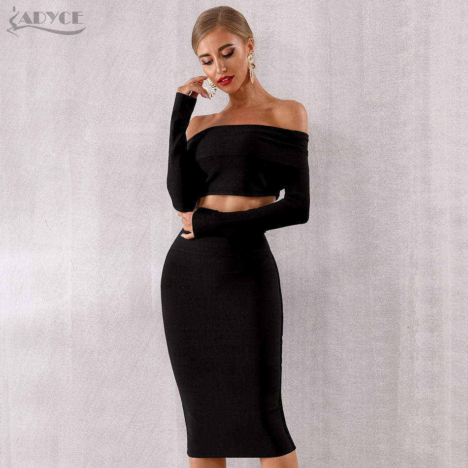 ADYCE 2019 New Women Bodycon Bandage Sets Summer Dress Vestido 2 Two pieces Set Black Off Shoulder Celebrity Evening Party Dress