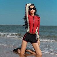 Korean Swimwear For Women Bikini Guard Clothes Surf Wear Swimsuit Girls May Women's Beach Rashguard Suits Long Sleeve Drying
