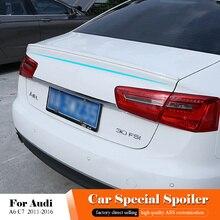 Для Audi A6 C7 солнцезащитным козырьком, с черной задний спойлер 2011 до 2016 ABS пластиковый Неокрашенный Цвет задний багажник крыла спойлер автомобиля аксессуары