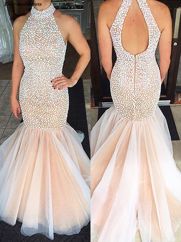 Luxury   Prom     Dresses   Mermaid Pearls High Neck Open Back Sweep Train Long Formal Gowns Party   Dresses   Vestidos De Festa Plus Size