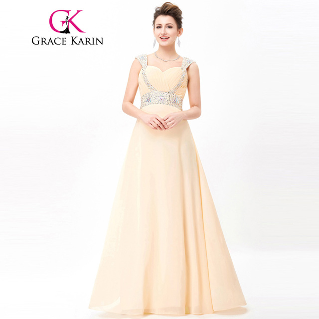 Grace Karin Long Evening Dress 2018 Beaded Chiffon Elegant Prom Dresses Wedding Party Special Occasion