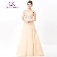 Grace Karin Long Evening Dress 2018 Beaded Chiffon Elegant Evening Prom Dresses Wedding Party Special Occasion Dresses Summer