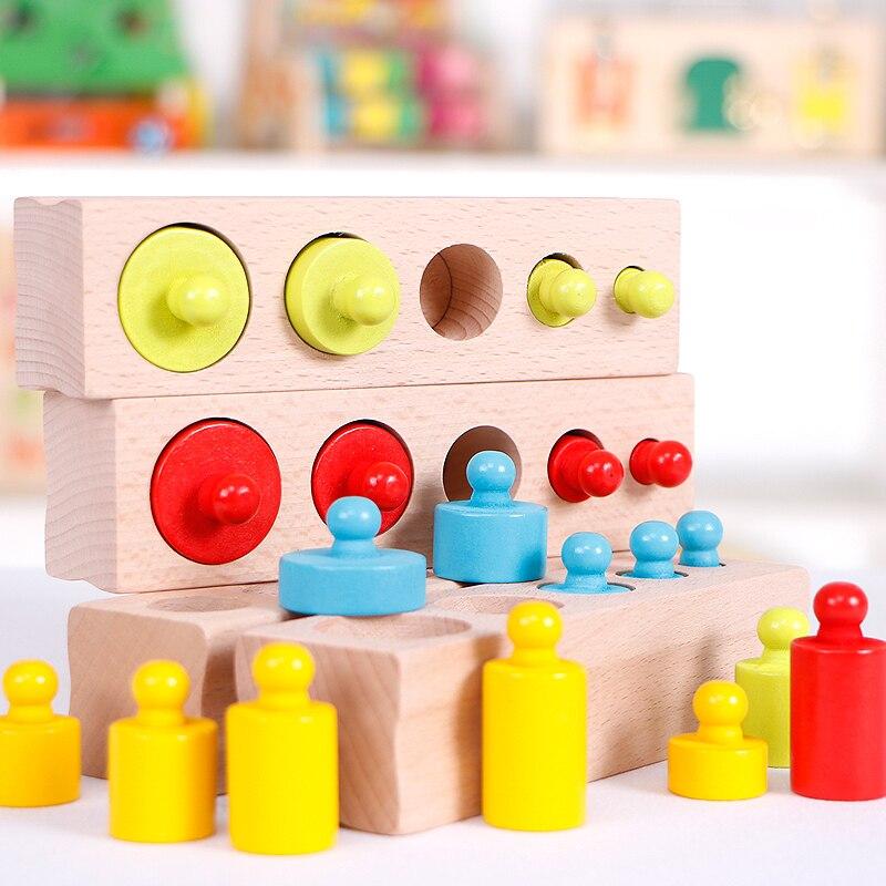 Materiales Montessori bebé juguetes de madera colorido hembra bloque de cilindros para los niños de preescolar juguetes de aprendizaje