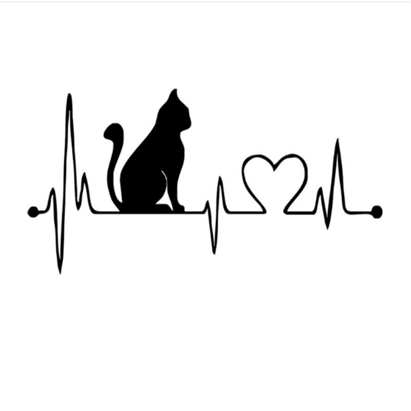 12cm*26.5cm Creative I Love Cats Car Sticker Funny Cartoon Animal Silhouette Vinyl Car Decal DIY creative car styling