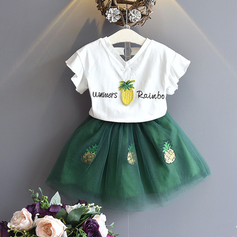 2018 New Summer Style Children Clothing Set 2PCS for Baby Girl Cartoon Cotton Short + Tutu Mesh Skirt Toddler Girls Cloth Suits