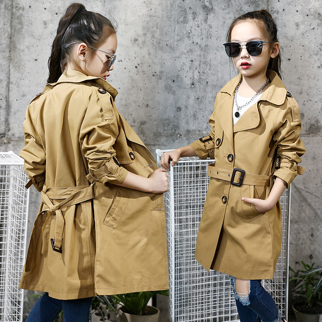 debc62807a15 Teenage Girls  Trench Coat Outwear Jacket Fall Winter 2018 New Kids ...