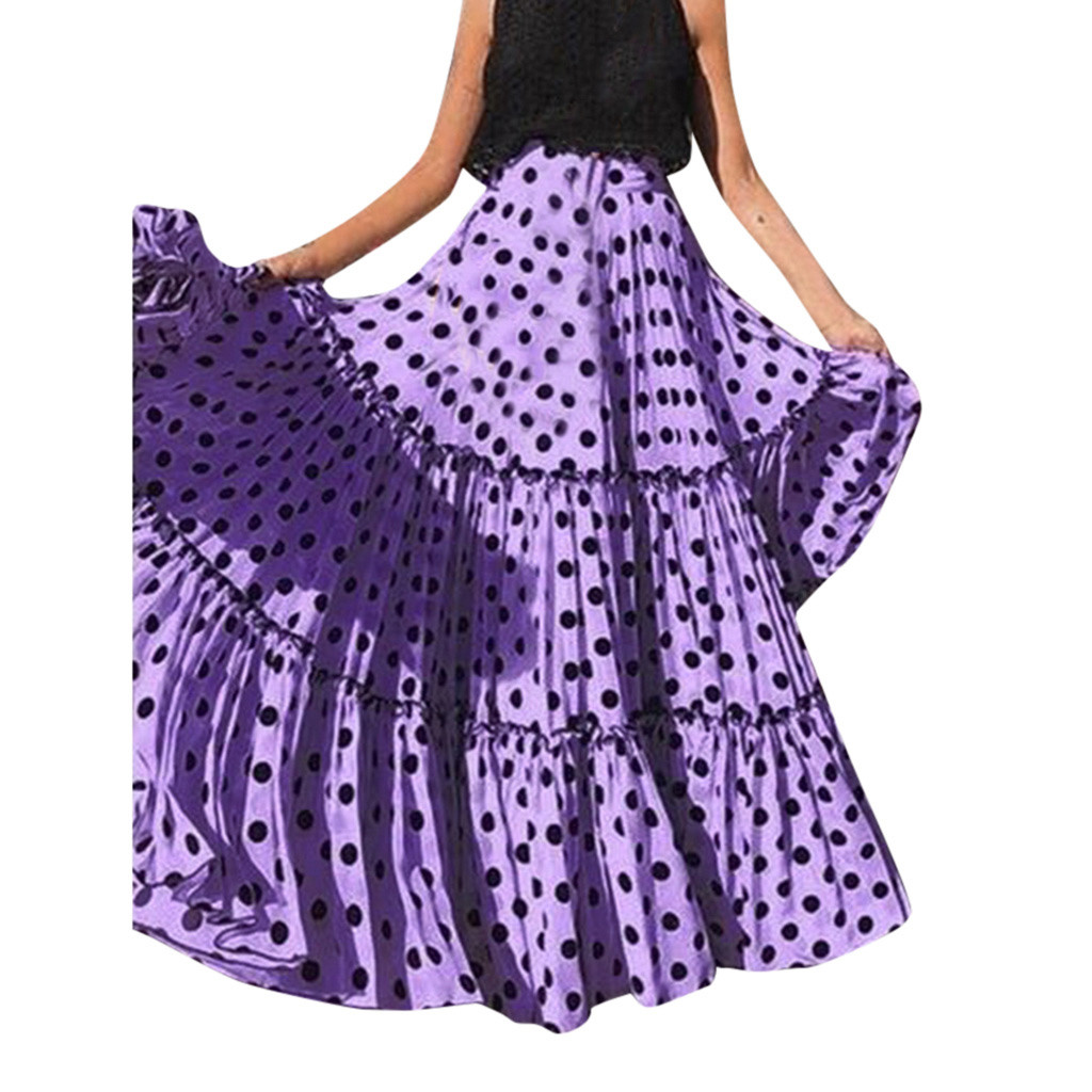 2019 MAXIORILL Bohemian New Women Fashion High Waist Polka Dot Printed Skirt Loose Ruffled Pleated Skirt подол Wholesale Y3
