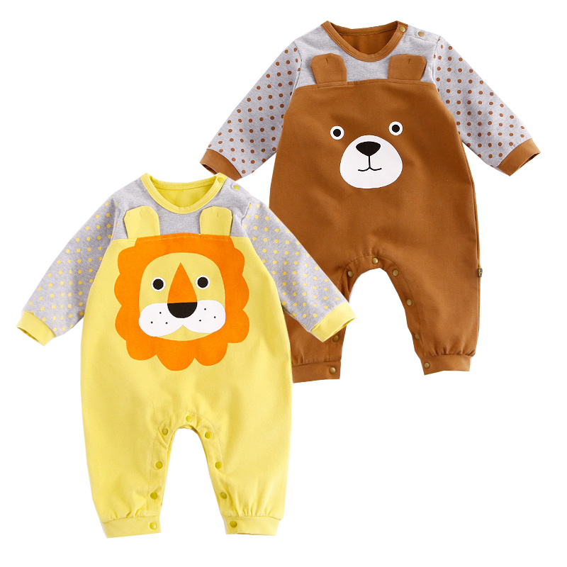 Cotton Baby Rompers Spring Baby Girl Clothes Cartoon Animal Print Jumpsuits Newborn Baby Clothes Roupas De Bebes Infant Clothing