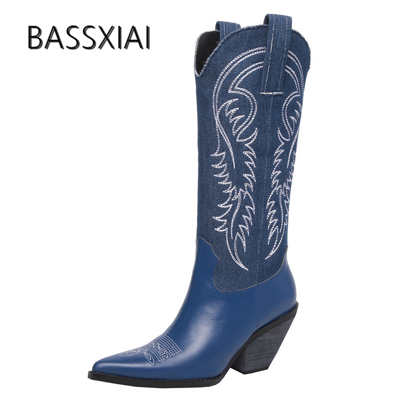 2019 Retro Real Leather Knee High Boots Women Pointed Toe Embroidery Wedges High Heel Boots Woman