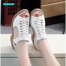 Woman Vintage Elegant Mid Square Heel Women's Sandals Summer Style Peep Toe Cros