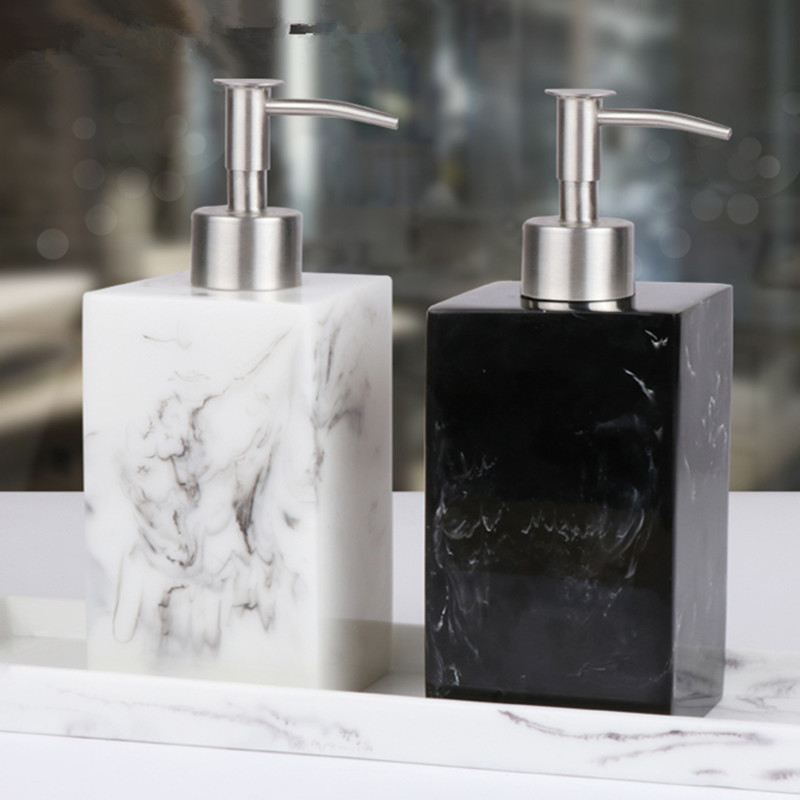 Lotion Bottle 500 ML Resin Soap Bottle Creative Hotel Marble Shampoo Dispenser  Press Hand Sanitizer Bottle Soap Dispenser Set