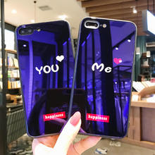 You&Me Phone Case For iPhone XS Max XR X Fashion Couple Love 7 8 Plus Luxury Blue-ray Tempered Glass Back Cover