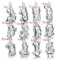 Retro Chinese Style 12 Zodiac Pendant Solid 925 Silver 12 Zodiac Necklace Men Women Childre Wholesale