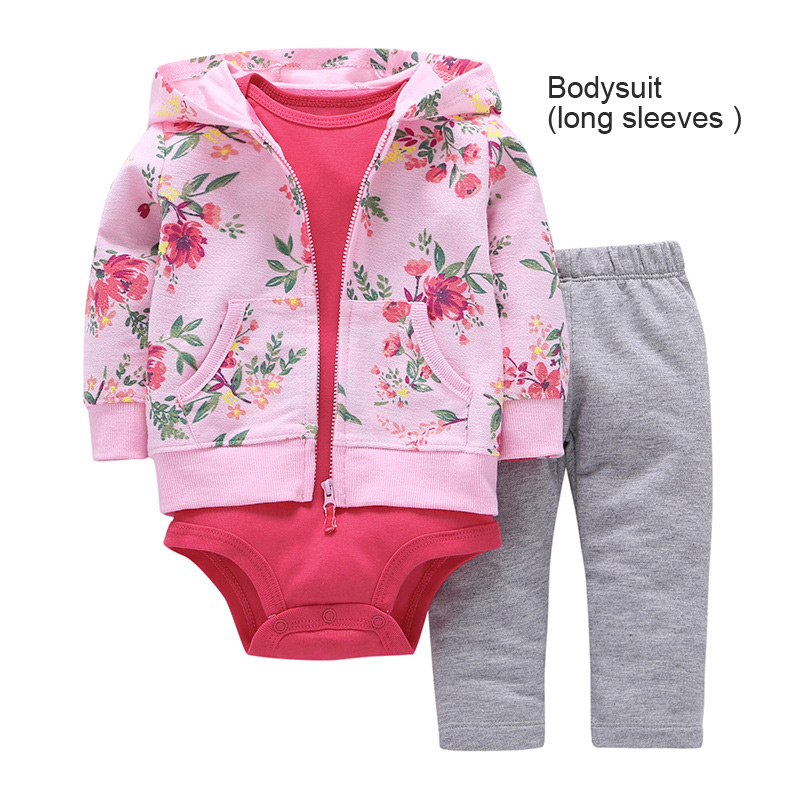 Infant Baby Girls Casual Print Clothing Set Long Sleeve Hoodie Pullover+Bodysuit Jumpsuit Long Pants 3Pcs bebe Clothes For Newb baby boy clothes suits vest plaid shirt pants 3pcs set party formal gentleman wedding long sleeve kid clothing set free shipping