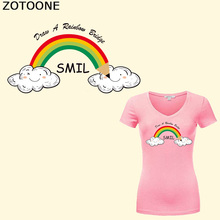 ZOTOONE Rainbow Patch Iron on Transfer Vinyl Sticker for Kids Clothes T-shirt DIY Heat Transfer Vinyl Washable Badges Patch 0 5 15m 20 x 42 21 glitter heat transfer vinyl for cloth purple color cuttable pu flex vinyl film for t shirt iron on vinyl