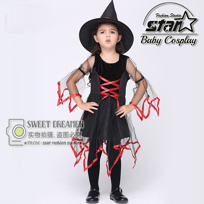Children Halloween Cosplay Party Witch Performance Costume Fancy Dress Carnival Witch Costume for Kids Girl Dress With Hat 4pcs gothic halloween artificial devil vampire teeth cosplay prop for fancy ball party show