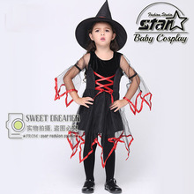 Children Halloween Cosplay Party Witch Performance Costume Fancy Dress Carnival Witch Costume for Kids Girl Dress
