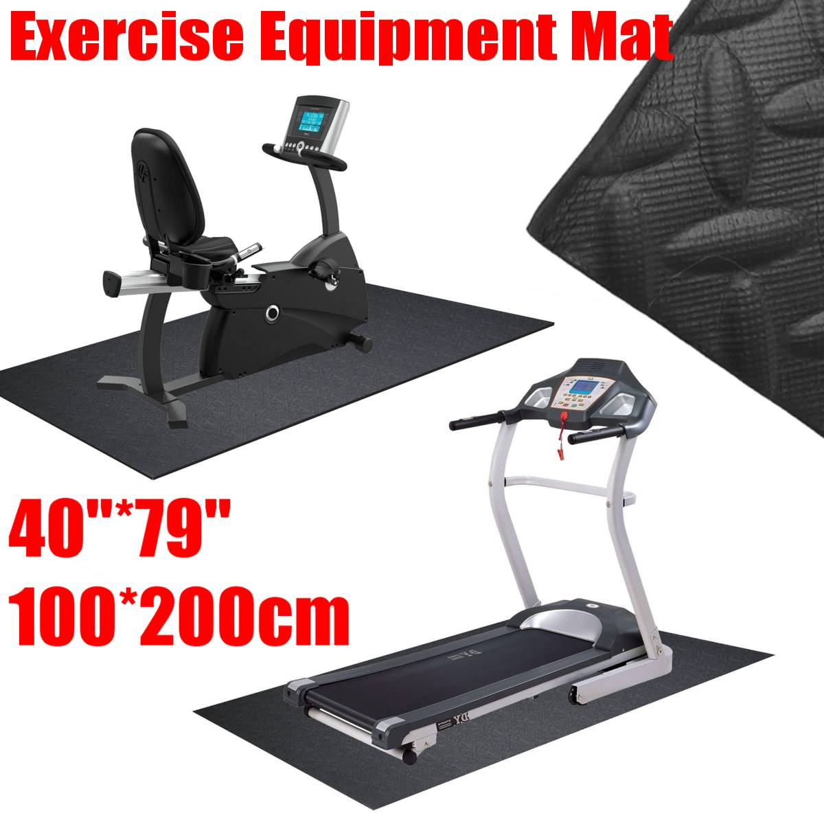 200x100cm No Slip Exercise Mat Gym Fitness Equipment For Treadmill Bike Protect Floor Mat Running Machine Shock Absorbing Pad