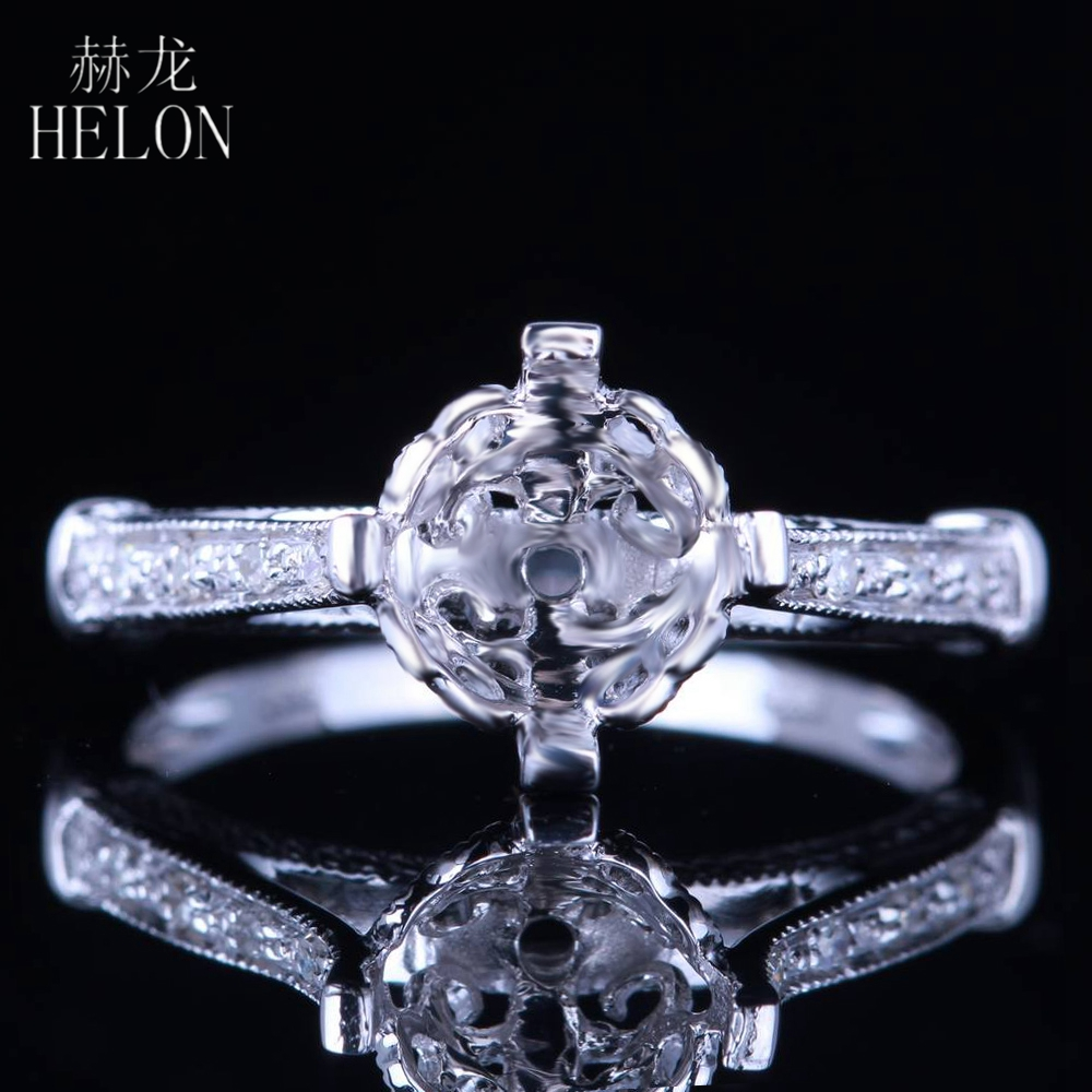 HELON 7MM ROUND SHAPE SOLID 14K WHITE GOLD SEMI MOUNT ENGAGEMENT WEDDING NATURAL DIAMOND ROYAL RING WOMENS JEWELRY FINE RINGHELON 7MM ROUND SHAPE SOLID 14K WHITE GOLD SEMI MOUNT ENGAGEMENT WEDDING NATURAL DIAMOND ROYAL RING WOMENS JEWELRY FINE RING