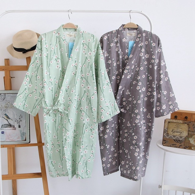 Summer Autumn Japanese style Robes 100% Cotton Double Gauze Kimono ...