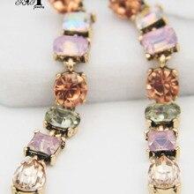 Ювелирные изделия yayi мульти стеклянные стразы подвеска-кристалл серьги женские Цвет: старое серебро Драгоценные камни длинные кисточки серьги подарок 1295