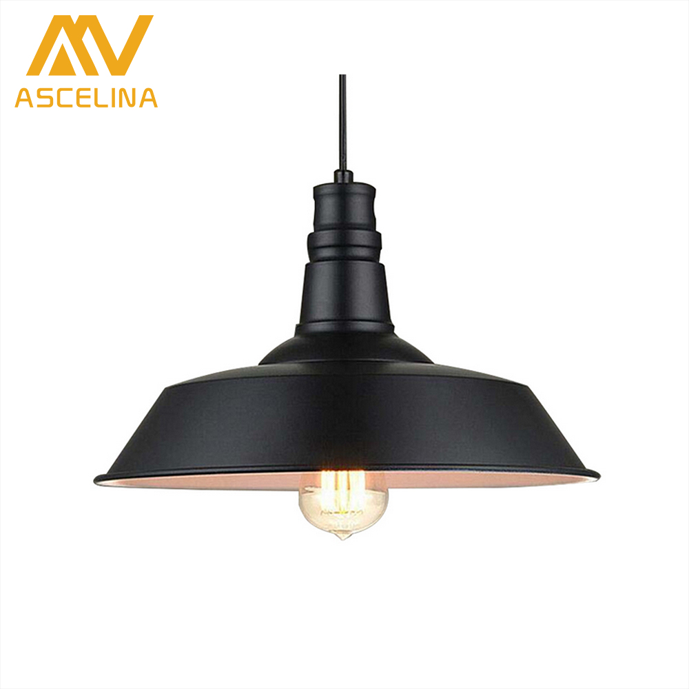 ASCELINA Industrial Vintage pendant lights Retro LED Lamp black/white pot droplight for restaurant bar home lighting E27 85-260V ascelina led pendant lights loft style industrial lighting vintage hanglamp with lamp shade for living room e27 85 260v