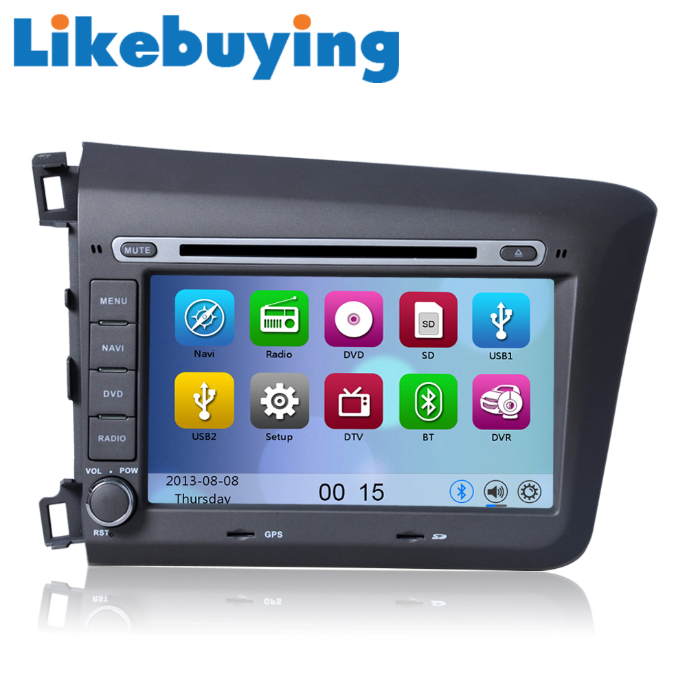 Likebuying voiture 2 din 8 head unit dvd gps radio st r o lecteur de navigation pour honda civic 2012