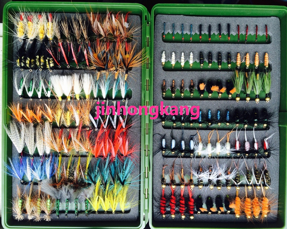 168pcs Wet Dry Fly Fishing Flies Lure Set Fly Tying Material Wet hand tied Nymph Flies