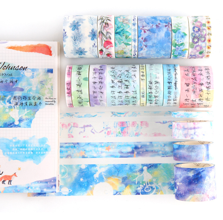 8pcs/lot Japanese Ocean Stars Wisteria Floral Cute Paper Masking Washi Tape Set Cute Scrapbooking Supplies Sticker Stationery