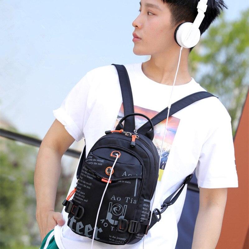 Image 5 - Street Brand Waterproof Headphone Cable Hole Small Backpack Men Shoulder Travel BagBackpacks   -