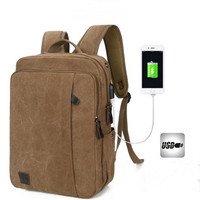 Casual Men Canvas Laptop Backpack College Student School Backpack For Teenagers Rucksack USB Charge Computer Bag