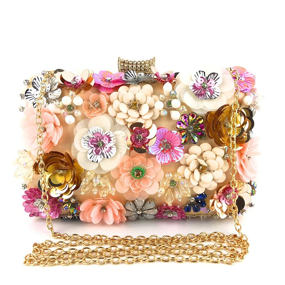 Evening Bag Lady Handmade Colored Flower Clutch Purses and Handbags Flowers Pearl Fashion Flap