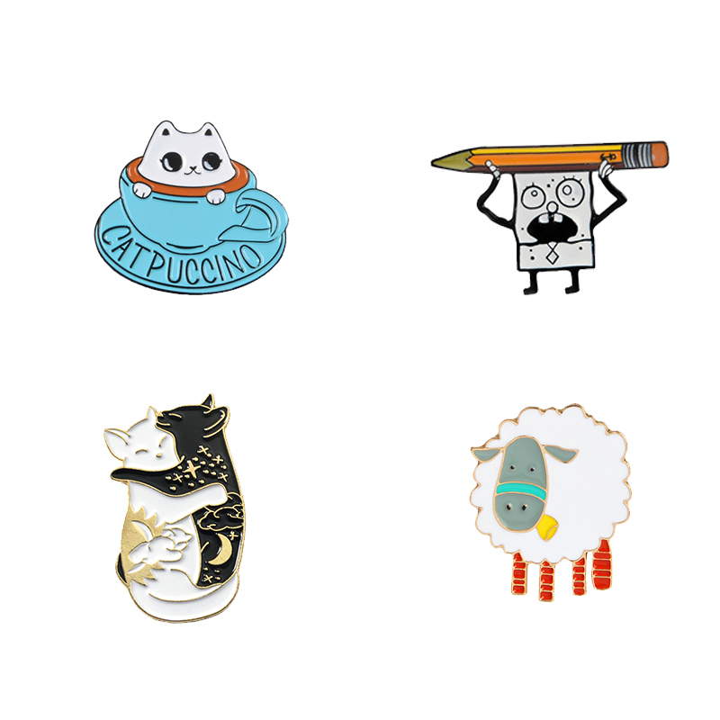 Funny animal enamel pin Cats sheep dinosaur badge brooch Lapel pin for Denim Jean shirt bag Cartoon Jewelry Gift for women kids