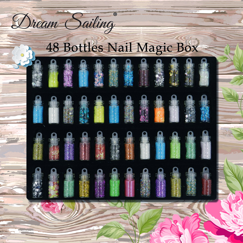 48 Bottles 3D Nail Art Decoration Rhinestones Diamonds Sequins Glitter Metal Crystal Beads Christmas Design Nail Accessories Mix наушники bbk ep 1200s вкладыши оранжевый проводные