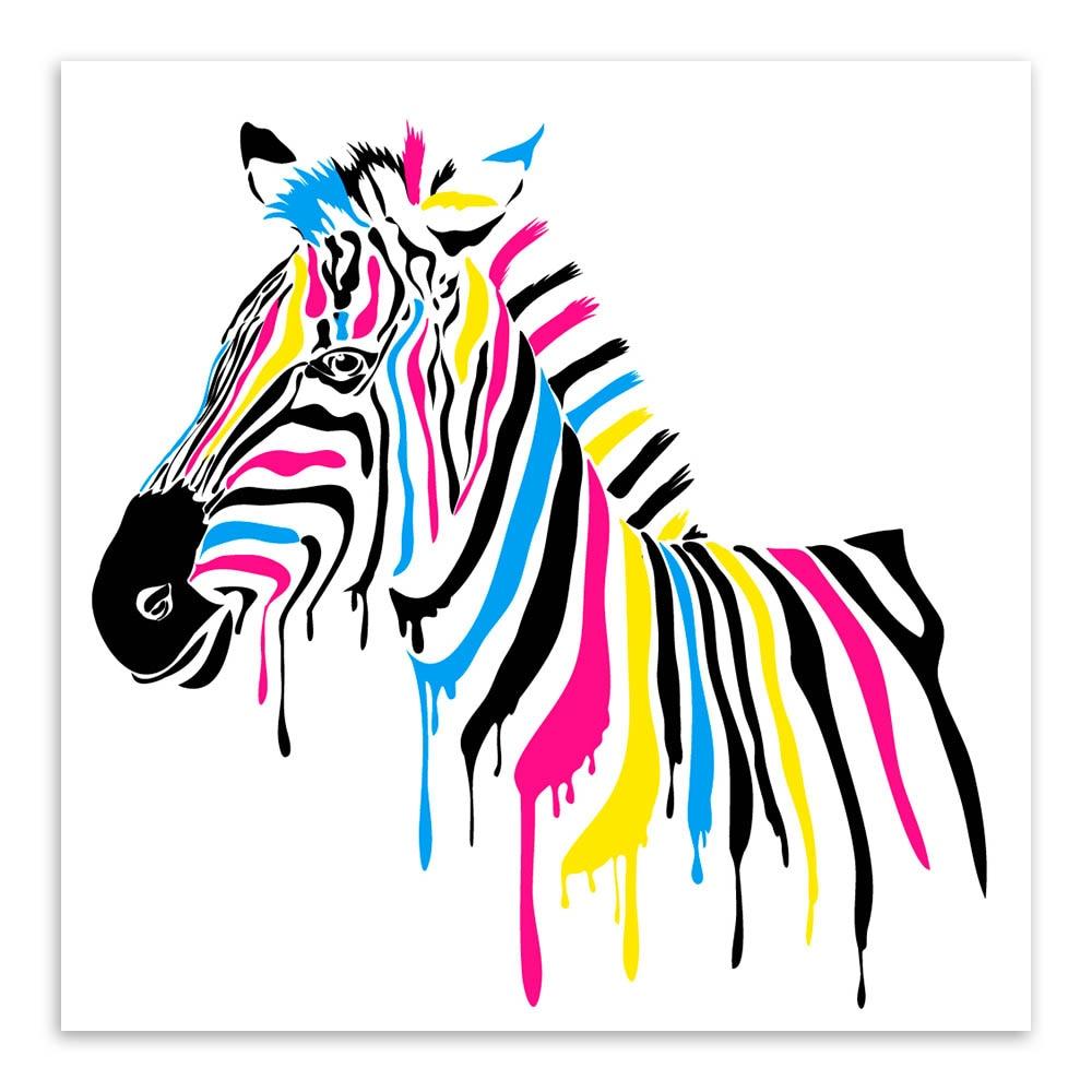 Sodobna divjad, barvita zebra risanka živali A4 velik umetniški - Dekor za dom - Fotografija 2