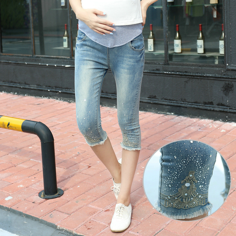 d4bd63000 2016 Pregnant Women Jeans Mujer Leggings Denim Maternity Pants Paste Drill  Rhinestone Ropa Embarazada Invierno Femme Enceinte-in Jeans from Mother    Kids on ...