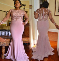 Plus Size Mermaid Lace Arabic 2018 Bridesmaid Dresses Long Sleeves Beaded Maid Of Honor Dresses Spandex Forma Party Dresses