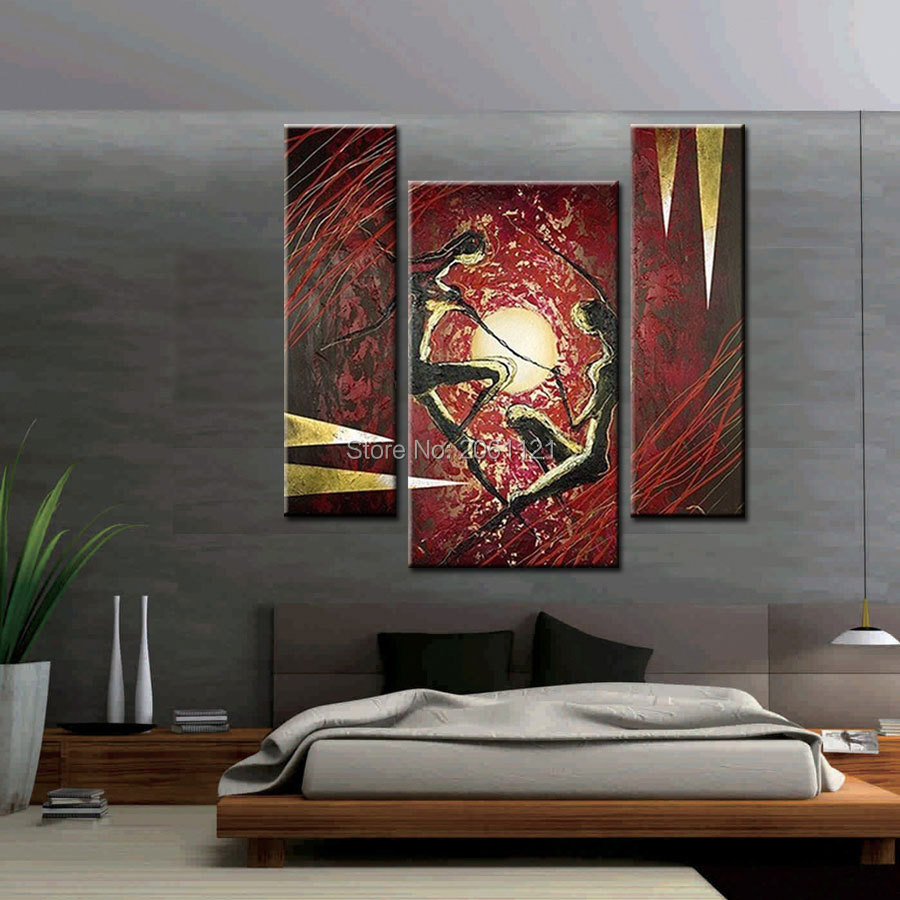 Hand Painted Abstract Acrylic Paintings On Canvas red black lover figure 3 Panel Wall Pictures For Bedroom Decoration Set in Painting Calligraphy from Home Garden