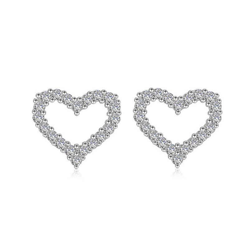 925 סטרלינג כסף אופנה מלא קריסטל לב Stud עגילים לנשים זירקון כלה אלגנטית למעלה איכות היפואלרגנית