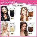 Promociones grandes nuevo diseño barato brasileño de la virgen AAAAA Flip en la extensión del pelo humano 20 pulgadas 100 g muchos colores Flip pelo brasileño