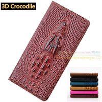 Top Genuine Leather Flip Stand Luxury Card Case 3D Crocodile Grain Phone Cases For Xiaomi Redmi