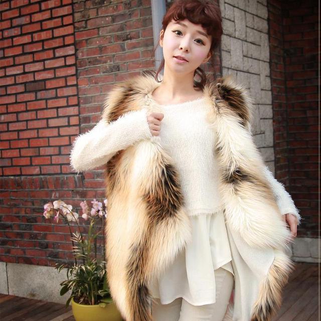 Женщины Теплая Зима Жилет Из Искусственного Меха Shaggy Жилет Куртка Шаль Пальто И Пиджаки