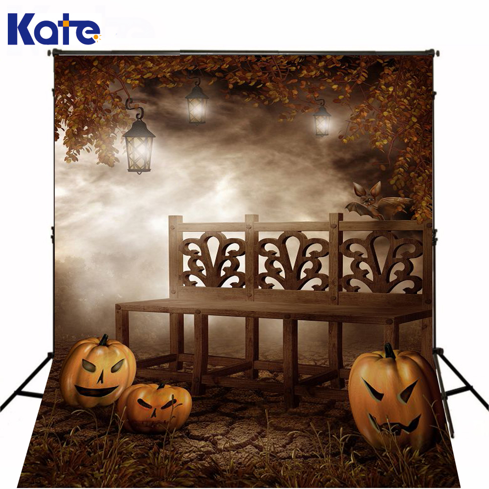 200Cm*300Cm(6.5X10Ft) Fondo Fotografia Estudio Ye Wu Bench Pumpkin Halloween Backdrop Zj