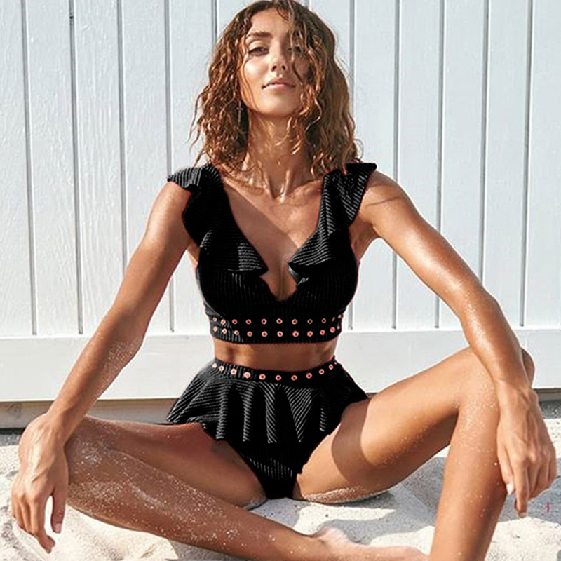 2019 New High Waist Bikini Swimwear Women Swimsuit Push Up Bikinis Women Bathing Suit Biquini Ruffle Bikini Summer Beach Wear