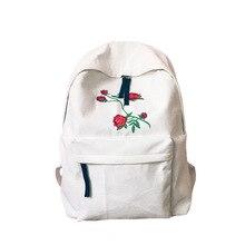 Новинка 2017 холст Harajuku роза Вышивка Рюкзак белый черный женские Путешествия Рюкзак Студенты холст двойной сумка Mochila