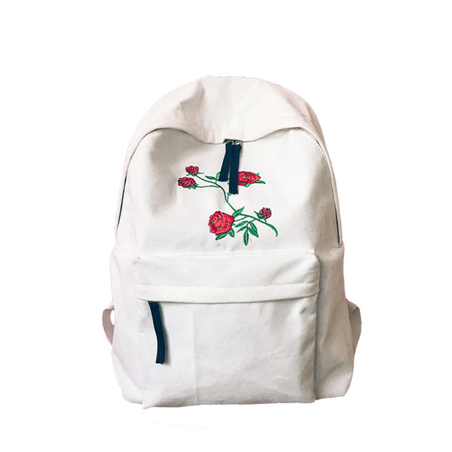 b9d5818f5b 2017 new Canvas Harajuku Rose Embroidery Backpack White Black Women Travel Backpack  Students Canvas Double Shoulder Bag Mochila