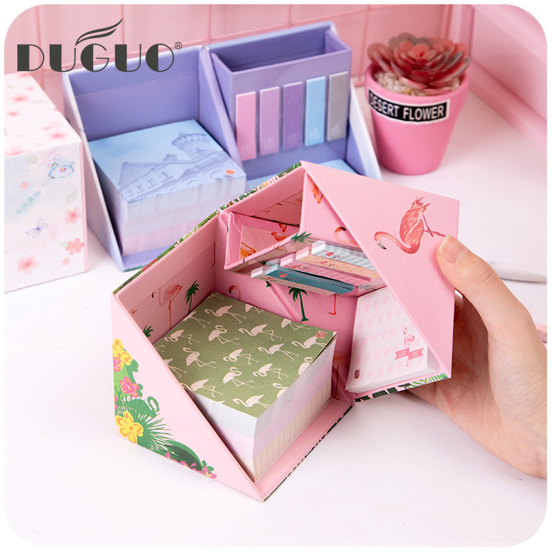 DUGUO Cute Stationery Office Combination Environmental Pen Holder + Post-it Notes N Times Stickers Set Kawaii Supplies Cute Memo